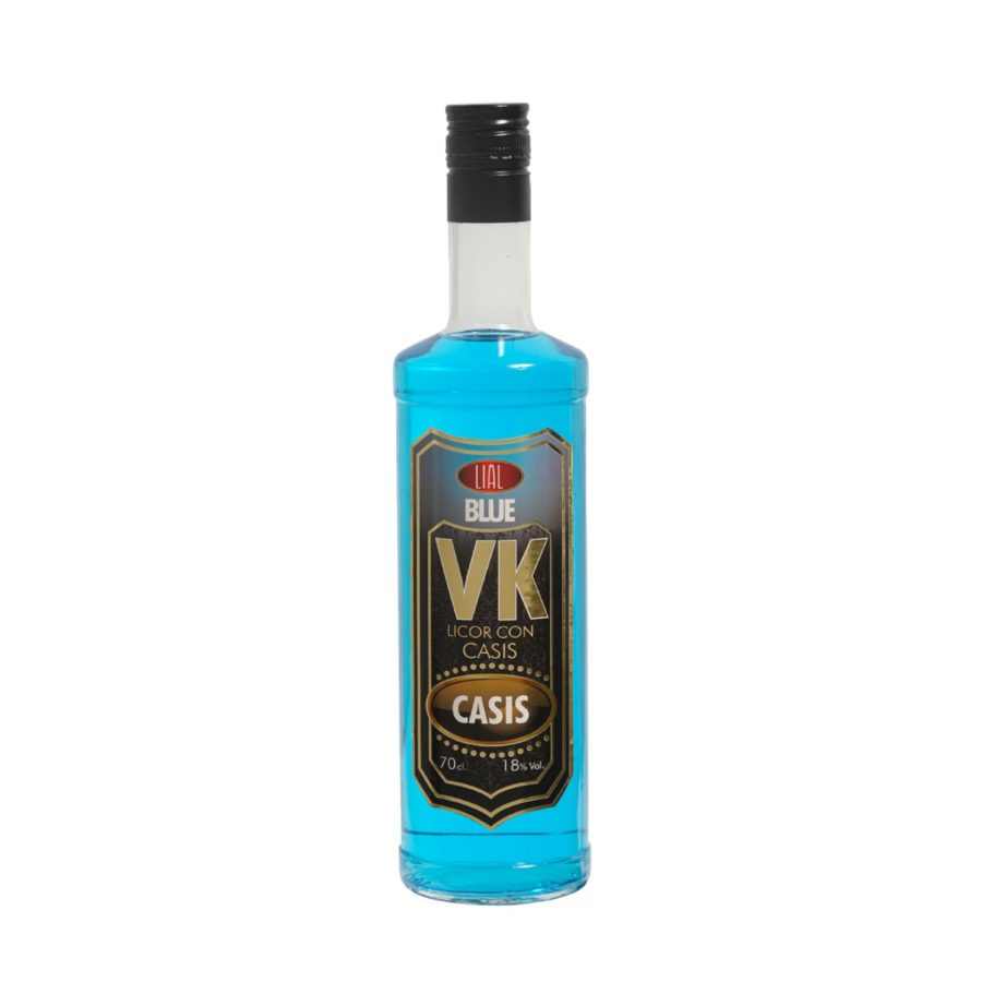 Bebida de licor de casis con todo el sabor del vodka azul en botella de 70cl con 18% de alcohol