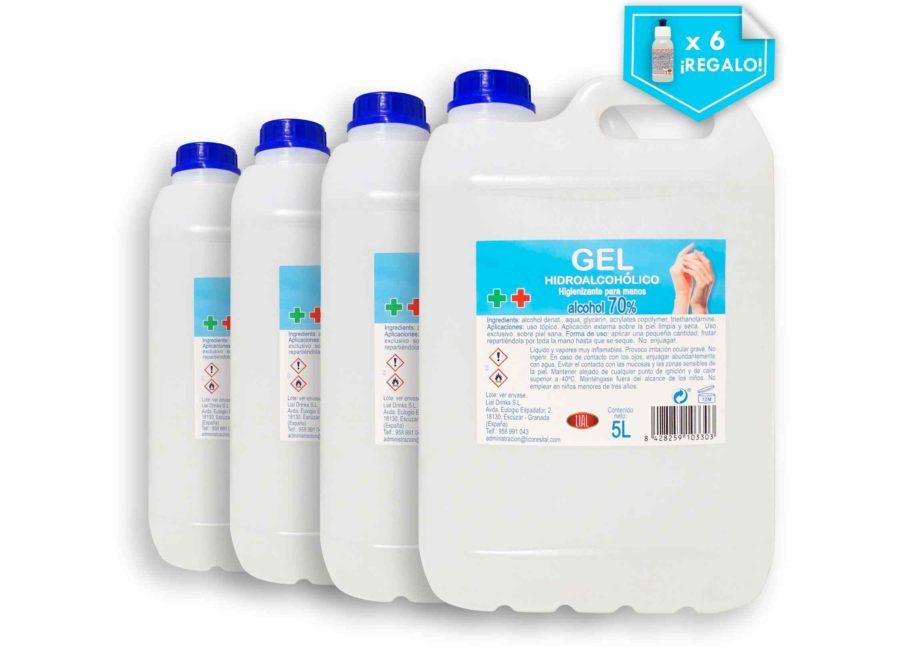 Gel hidroalcoholico lial en formato de 4 garrafas de 5 litros más 6 botellines de solución de regalo