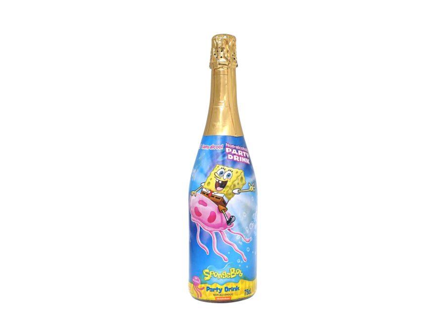 Bebida de Bob Esponja de Nickelodeon, un espomuso sin alcohol sabor manzana ideal para fiestas infantiles